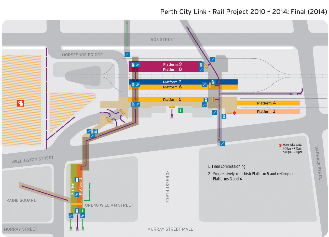 Map of Perth Station's final layout in 2014
