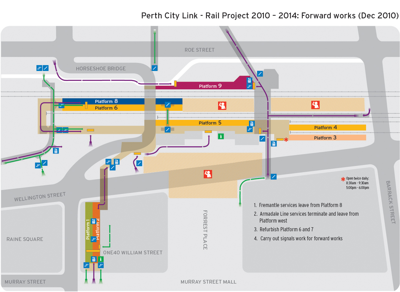Map of Perth Station layout during the forward works