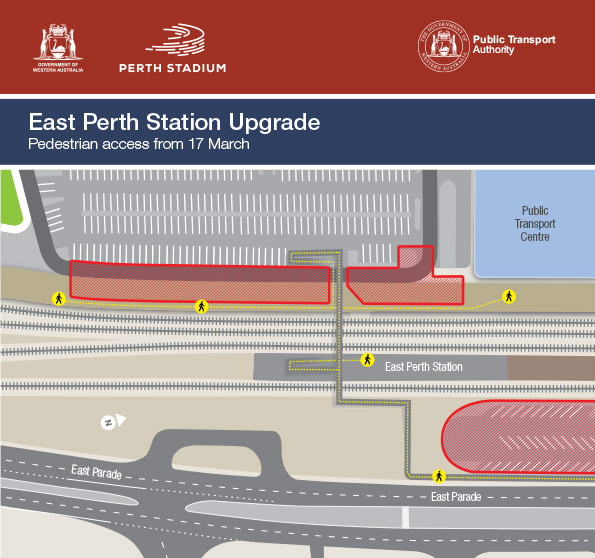 East Perth Station upgrade - temporary pedestrian access
