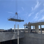Airport Central Station elevator steel landing installation - March 2019