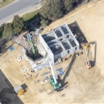 Aerial image of Abernethy Egress Shaft Building progress – August 2019