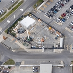 Aerial view of Airport West emergency egress shaft site - July 2020